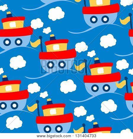 Little tug boat transport seamless pattern .