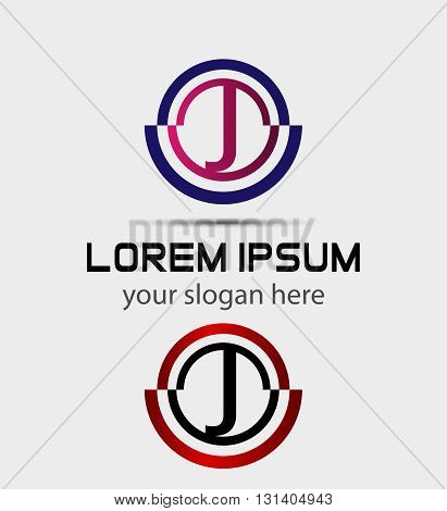 Abstract Letter j Icon. Alphabet logotype vector design