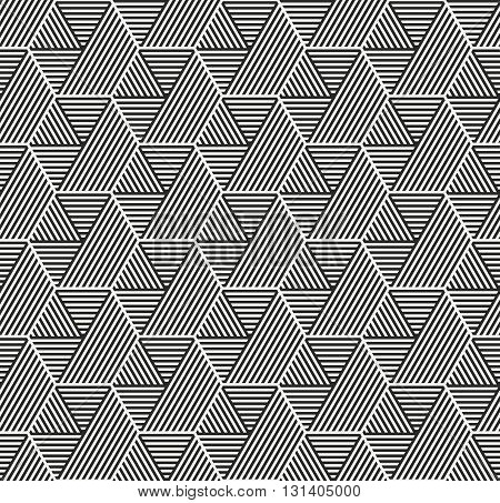 Vector seamless pattern. Modern stylish geometric texture with structure of repeating striped hexagons with volume surface effect.