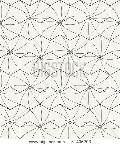 Vector seamless pattern - Modern stylish outlined geometric texture with structure of repeating hexagons with curved surface