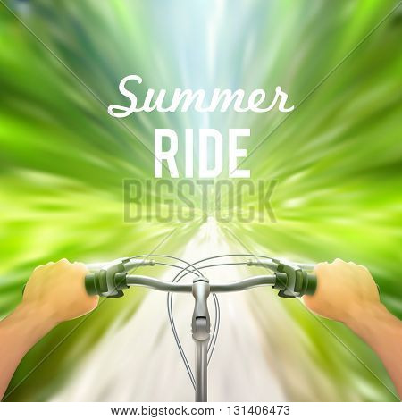 Handlebar background moving poster man rides through the woods on bicycle at great speed vector illustration