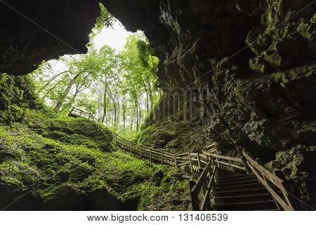 A set of stairs coming down into a cave.