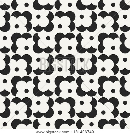 Vector seamless pattern. Modern stylish monochrome geometric background with structure of repeating flower shapes.