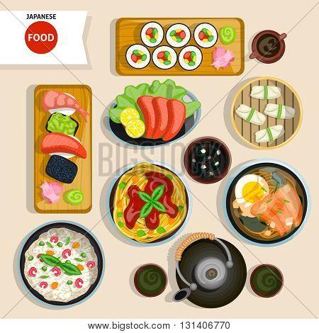 Japanese Food Top View Set. Japanese Food Vector Illustration. Japanese Food Cartoon Symbols. Japanese Food Design Set.  Japanese Food Isolated Set.