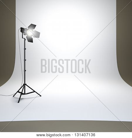 A 3d render illustration of empty photo studio with white background and flashlight. Surface empty to place your object, text or logo.