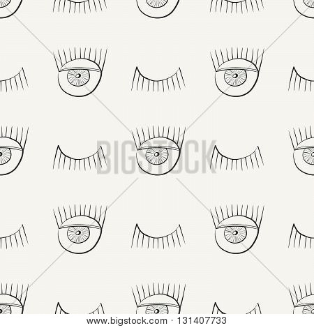 Hand drawn seamless pattern with symbols of open and closed eye. Modern stylish linear decorative ornament. Repeating background for fabric wrapping paper or wallpaper. Isolated vector illustration.