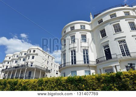 Bow fronted Regencey (georgian) houses in Brighton UK