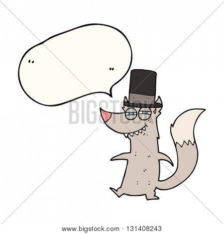 freehand drawn speech bubble cartoon little wealthy wolf