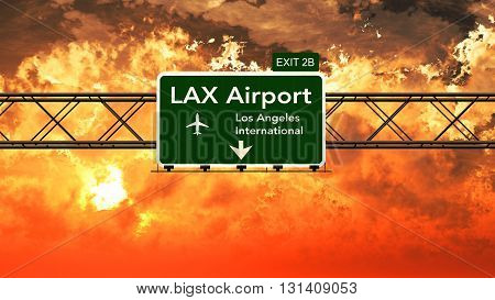 Passing Under Los Angeles Lax Usa Airport Highway Sign In A Beautiful Cloudy Sunset