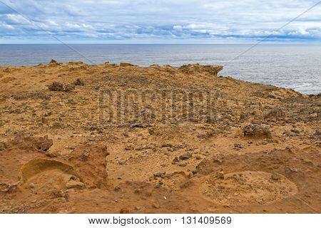 Landscape view of coastal cliff at Petrified Forest Walk, Cape Bridgewater in Victoria, Australia