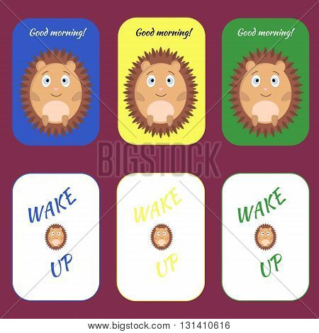 Printable card with hedgehog good morning. The colored cards to print.