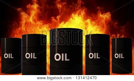 Oil Barrel In Raging Fire Oil Price Crisis Concept