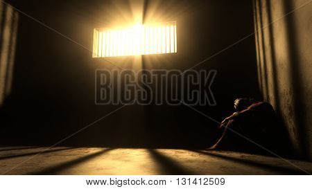 Prisoner In Bad Condition In Demolished Solitary Confinement Under Lightrays