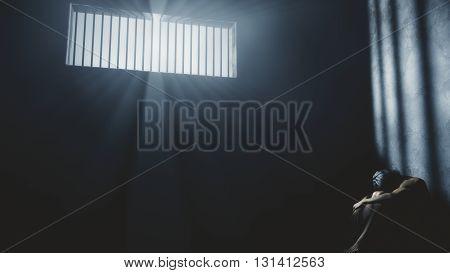 Prisoner In Bad Condition In Demolished Solitary Confinement Under Lightrays