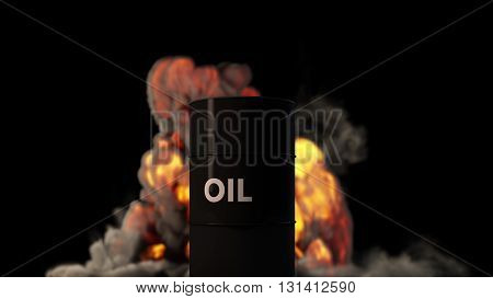 Raging Fire Blast Behind Oil Barrel Oil Price Crisis Concept