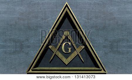 Free Masonic Grand Lodge Sign Editorial 3D Illustration poster