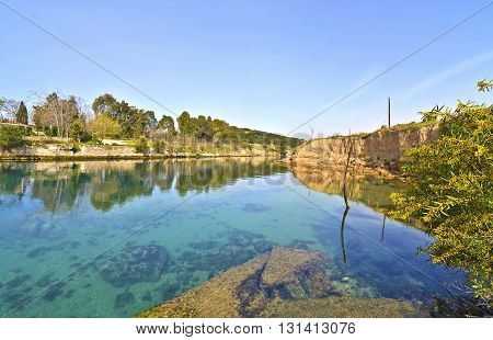 landscape of Corinth canal - part of the Isthmus of Corinth Greece