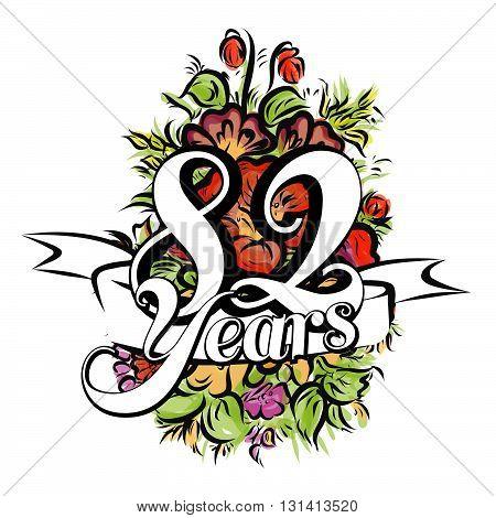 82 Years Greeting Card Design