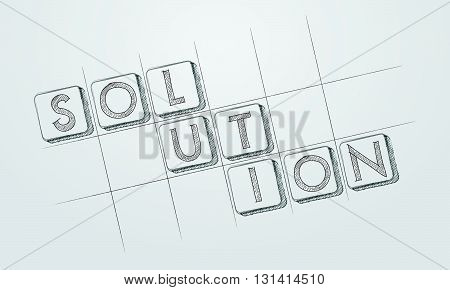 solution - text in hand-drawn style blocks in blueprint, business creative concept, vector
