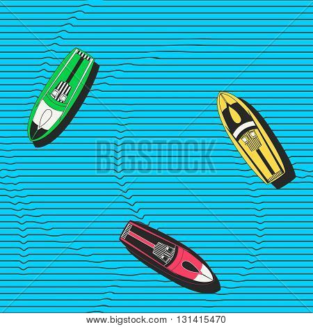 Hand drawn colorful seamless vector pattern with speedboats floating in the sea. Modern stylish repeating decorative background for wallpapers fabric wrapping paper or ceramics.