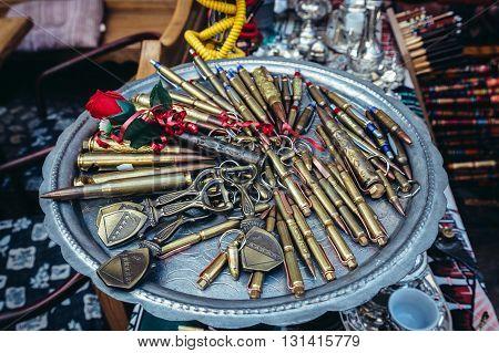 ballpoints made of bullet shells on bazaar in Sarajevo Bosnia and Herzegovina