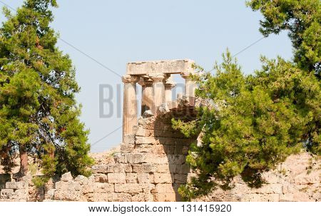 The ruins of the Temple of Apollo in the ancient city of Corinth Greece