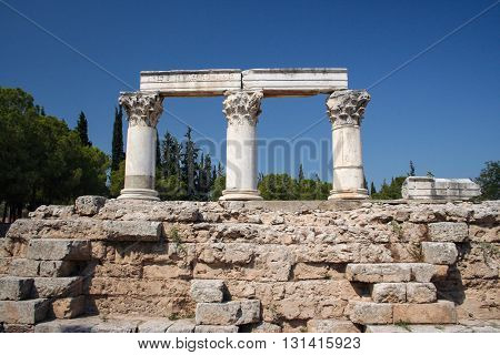 Ruins of Octavia temple in Ancient Corinth, Greece