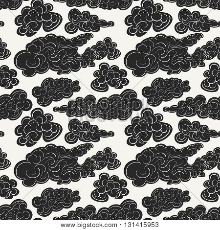 Hand drawn vector seamless pattern with black storm clouds. Modern stylish decorative background in trendy linear art style. Perfect for wallpapers textile and interiors.