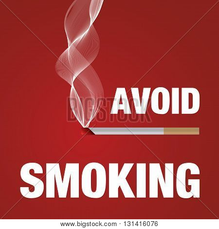 Avoid smoking sign red, healthcare vector illustration.