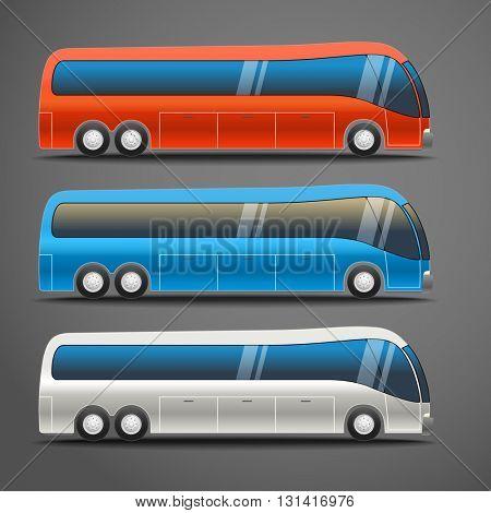 Different color city bus vector illustration