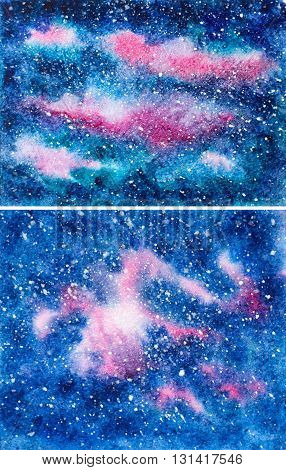 hand painted texture background with galaxy and stars. set