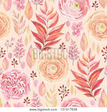 Seamless pattern of English Rose, Ranunculus, colorful branches and leaves pink, red, yellow and orange colors, vector illustration in vintage style.