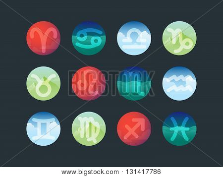 Set of astrological signs on colorfull background belonging to the elements