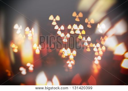 particles radiation nuclear abstract blur background  in darkness