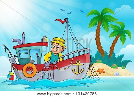 Fishing boat theme image 5 - eps10 vector illustration.