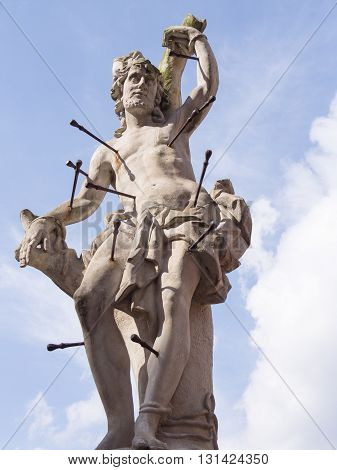 Statue of Saint Sebastian in Cieblice, Poland
