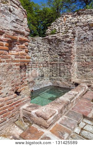 Remainings of wall and pool in  The ancient Thermal Baths of Diocletianopolis, town of Hisarya, Plovdiv Region, Bulgaria