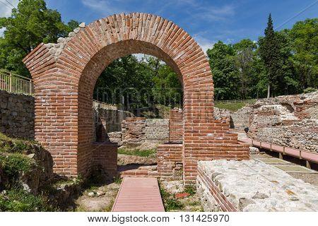 Entrance of roman bath in ancient Diocletianopolis, town of Hisarya, Plovdiv Region, Bulgaria