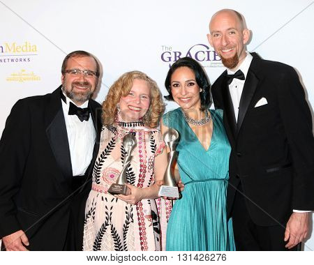 LOS ANGELES - MAY 24:  Grant Godfrey, MarySue Twohy, Joan Bishop, Chris Brown at the 41st Annual Gracie Awards Gala at Beverly Wilshire Hotel on May 24, 2016 in Beverly Hills, CA