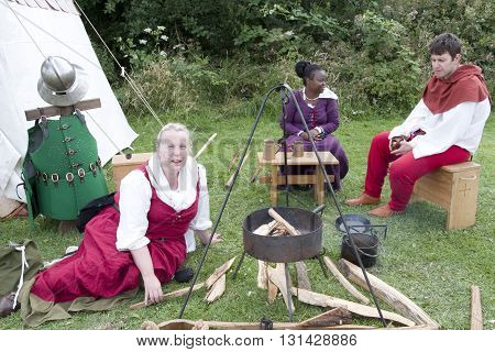 Tewkesbury, UK-July 17, 2015: Historical Reenactors at the Authetic Living History Camp on 17 July 2015 at Tewkesbury Medieval Festival