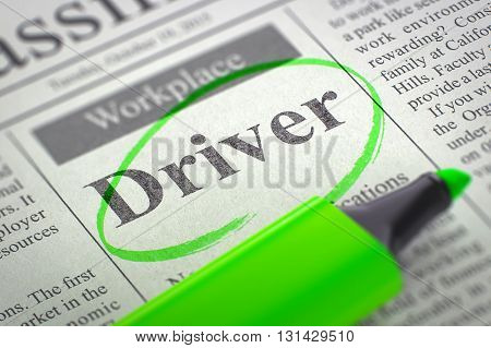 Driver. Newspaper with the Small Ads of Job Search, Circled with a Green Marker. Blurred Image. Selective focus. Job Search Concept. 3D Illustration.