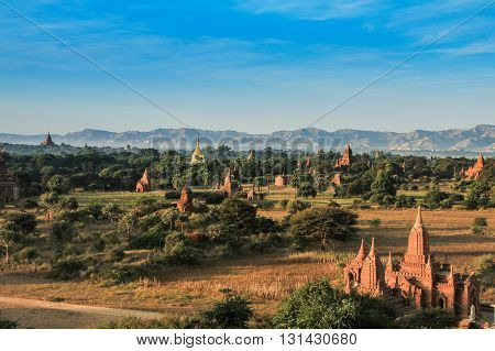 The Temples of bagan at sunrise  Bagan  Myanmar