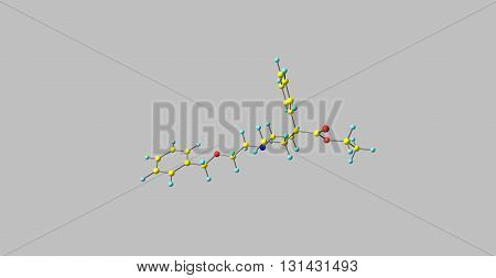 Benzethidine is a 4-phenylpiperidine derivative that is related to the opioid analgesic drug pethidine. 3d illustration