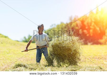 Woman Farmer Turns The Hay With A Hay Fork