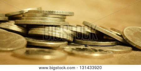 Banner of gold money coins - lending wealth money concept