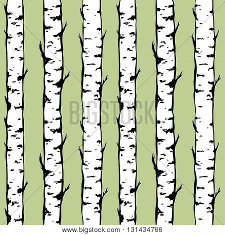 Vector seamless background of birch trunkes. Hand drawn trees. Vector illustration of a birch forest.