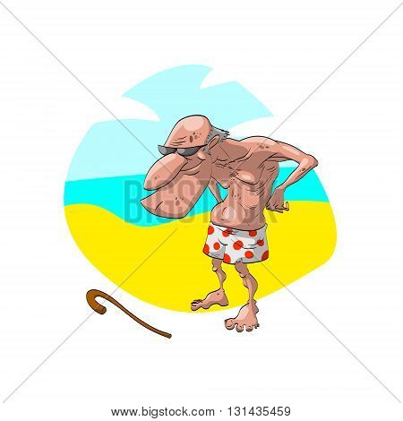 Colorful vector illustration of an bald old man grandpa on the beach wearing old shorts and sunglasses. With a naughty smile on his face.