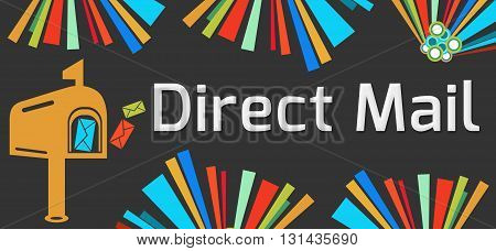Direct mail concept image with text and related graphics.