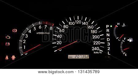 Modern car illuminated dashboard closeup. Car, Dashboard, Panel