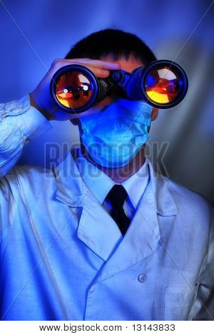 Medical theme: scientists  in a laboratory, research process.